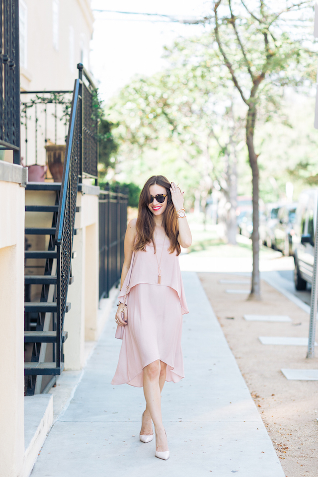 pink layered dress and nude heels M Loves M @marmar