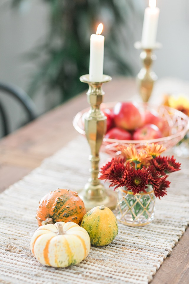 gold candlesticks and fall flowers in dining room M Loves M @marmar
