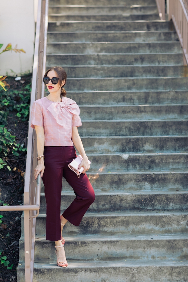stylish fall work outfit with pink and burgundy M Loves M @marmar