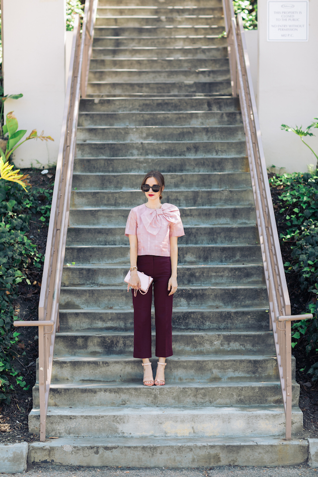 pink bow blouse with burgundy pants M Loves M @marmar