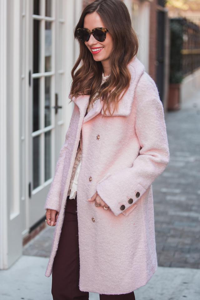 pink boucle coat M Loves M