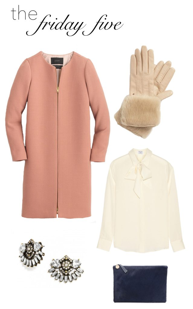 the friday five with taupe coat and white bow blouse M Loves M @marmar