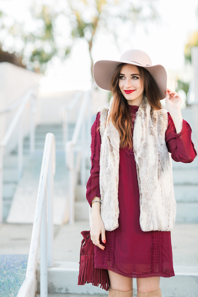 faux fur vest with lace dress M Loves M @marmar