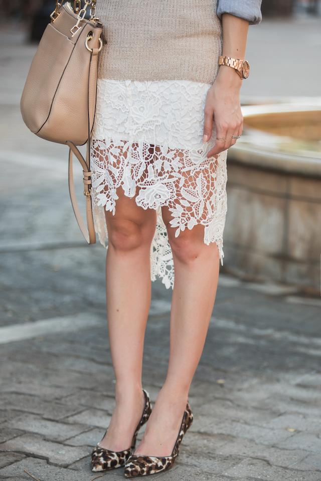 white lace pencil skirt M Loves M @marmar
