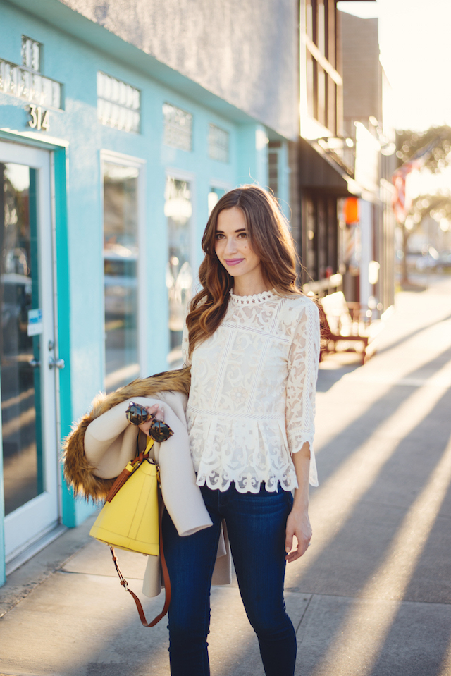long sleeve lace anthropologie blouse with jeans on M Loves M @marmar