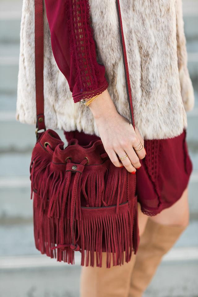 burgundy fringe patricia nash bucket bag M Loves M @marmar