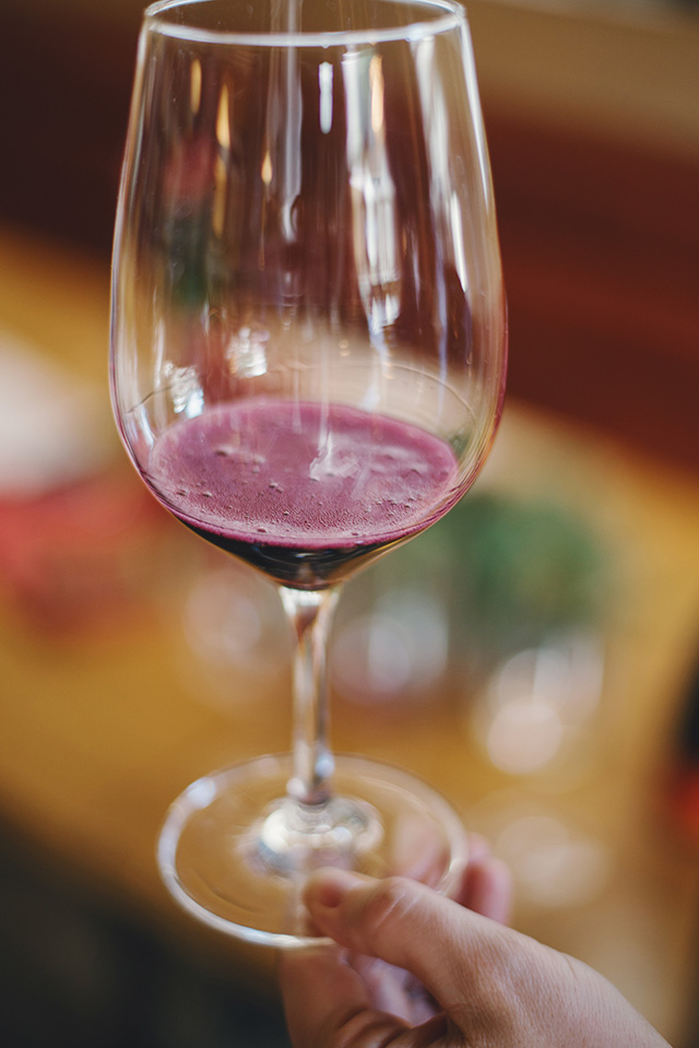 an interesting wine choice is a sparkling red wine by M Loves M