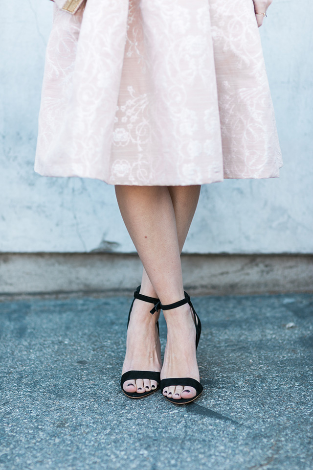 blush pink brocade skirt by New York & Company with Miu Miu sandal heels by M Loves M