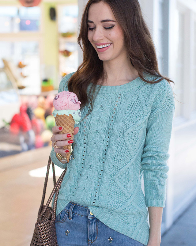 light blue mint sweater eating an ice cream cone by M Loves M