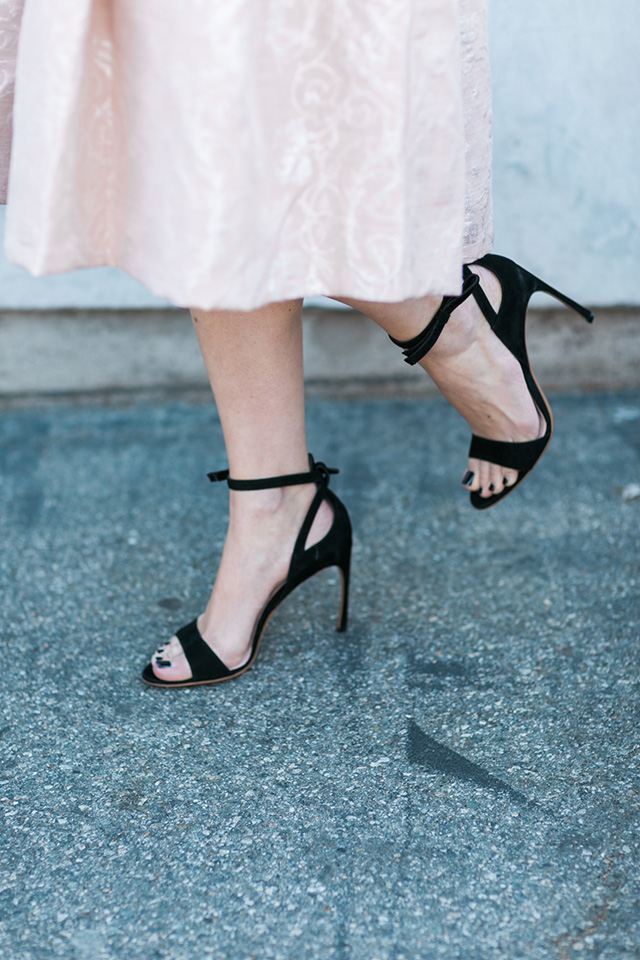 black miu miu sandal heels with bow on ankle strap by M Loves M