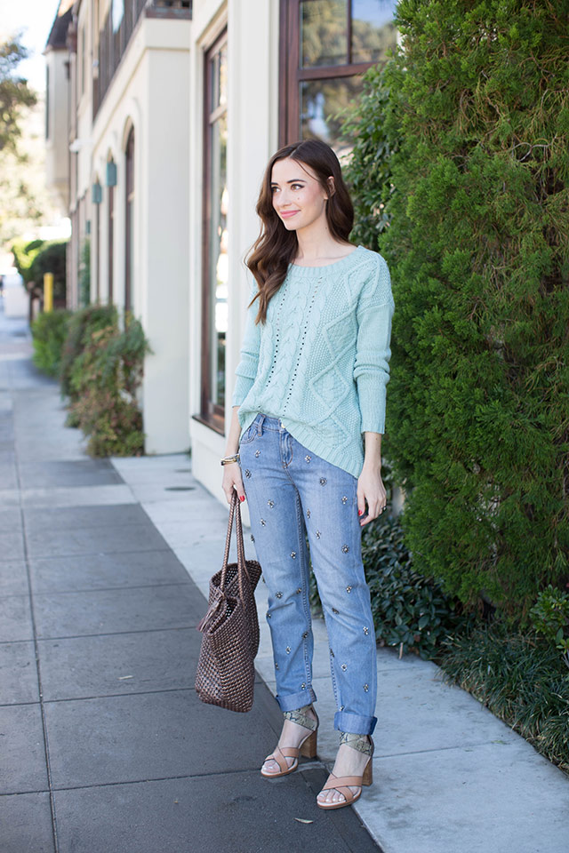 mint blue sweater with jeweled jeans by M Loves M