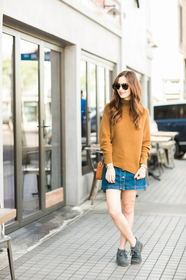 slouchy turtleneck sweater with denim mini skirt fall outfit inspiration by M Loves M