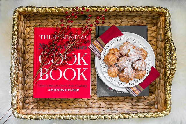 new york times cookbook on woven tray M Loves M
