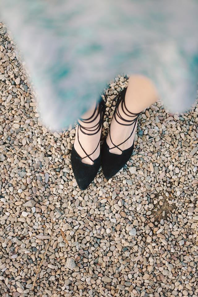 black lace up heels M Loves M