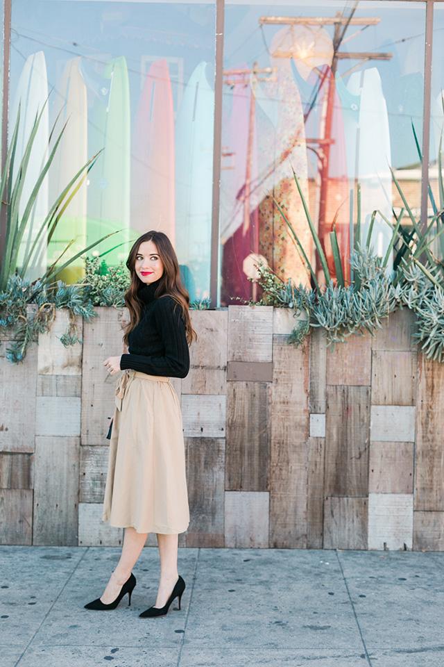 black turtleneck with beige skirt M Loves M