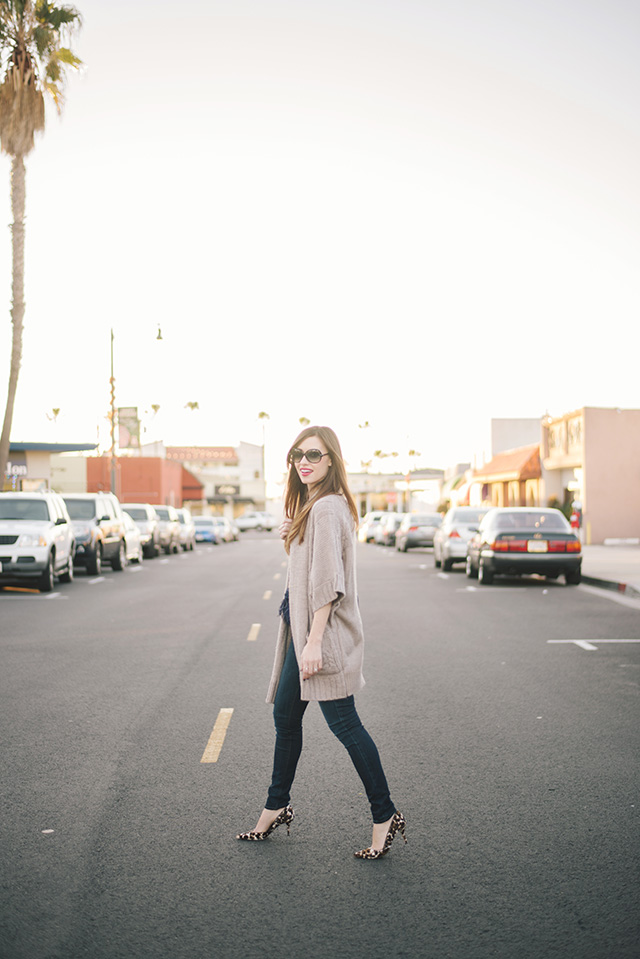 brown long cardigan with jeans and leopard print heels M Loves M