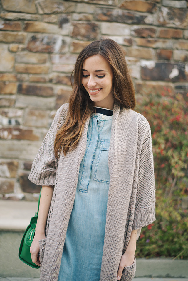 cute way to style a chambray shirtdress M Loves M
