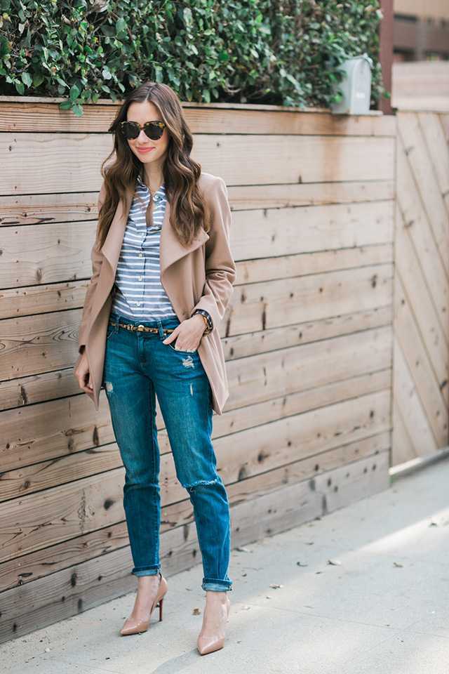 striped shirt and distressed relaxed jeans M Loves M