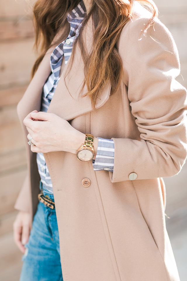 camel ted baker coat with striped banana republic shirt M Loves M