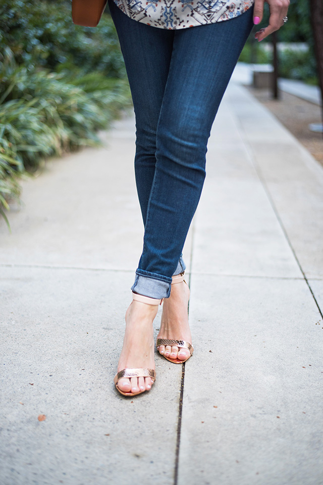 cuffed jeans with rose gold sandals M Loves M