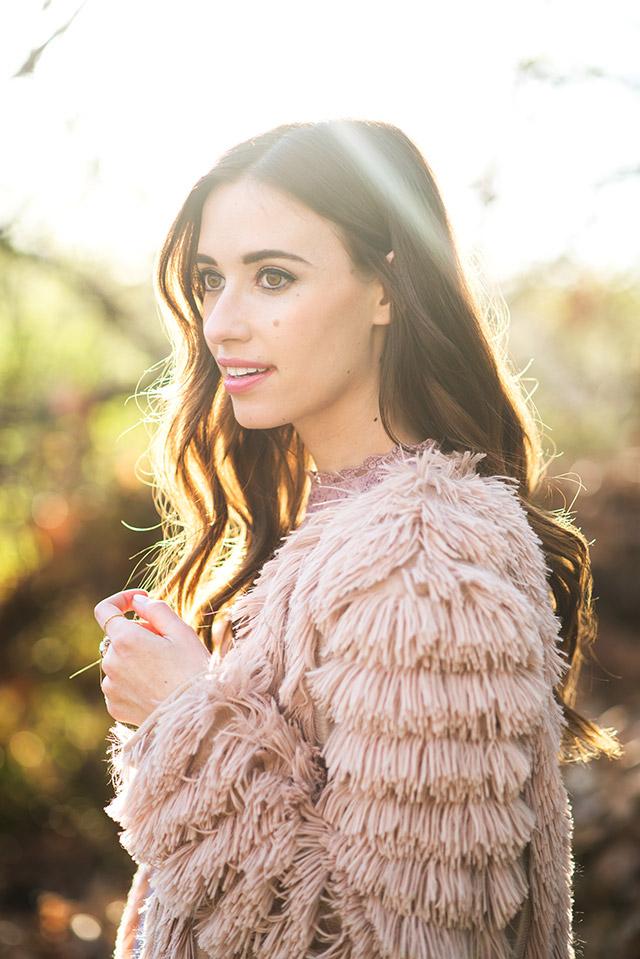 textured faux fur jacket M Loves M