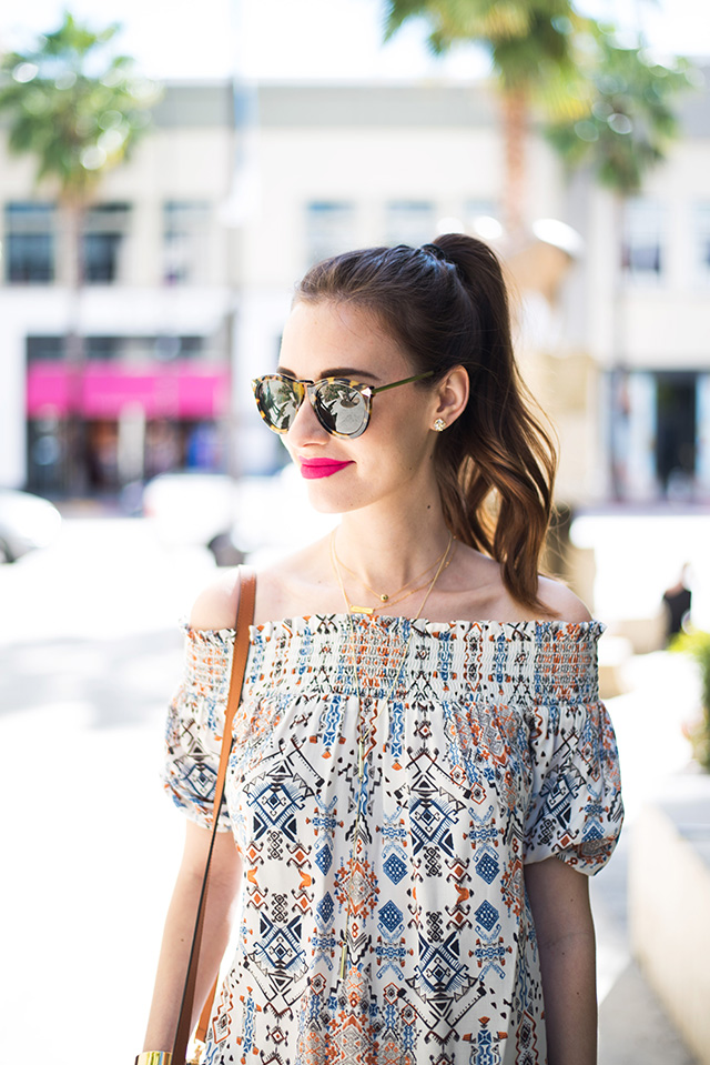 how to style a printed off the shoulder top M Loves M