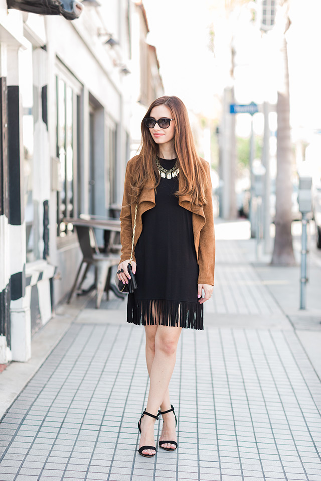 the little black fringe dress with a brown suede jacket