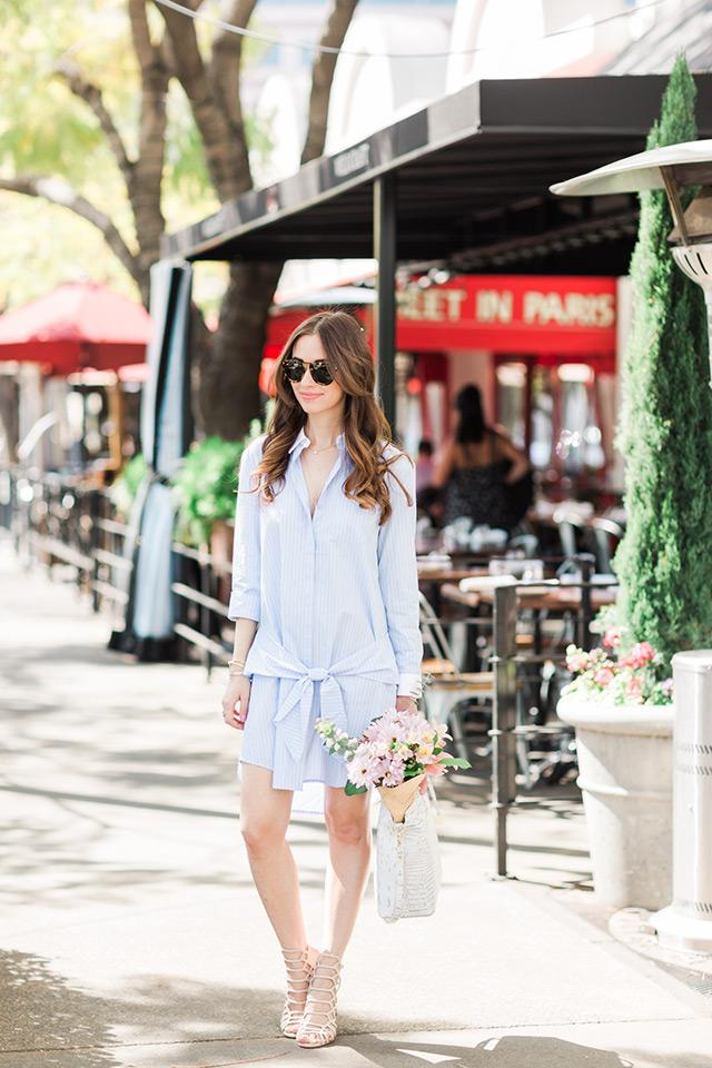 blue shirtdress with tortoise sunglasses and beige sandal heels