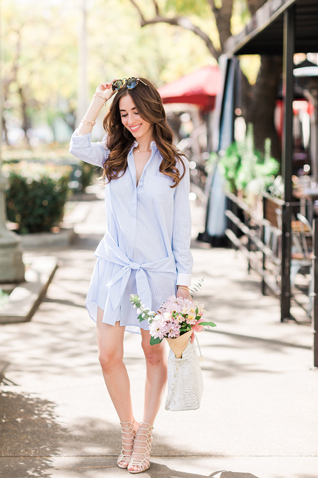 cute spring outfit with blue waist-tie shirt dress and sandal heels