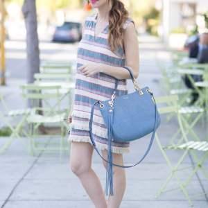 a striped fringe shift dress for spring