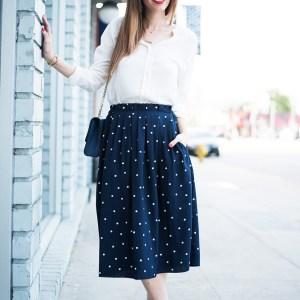 navy polka dot skrit with white blouse M Loves M