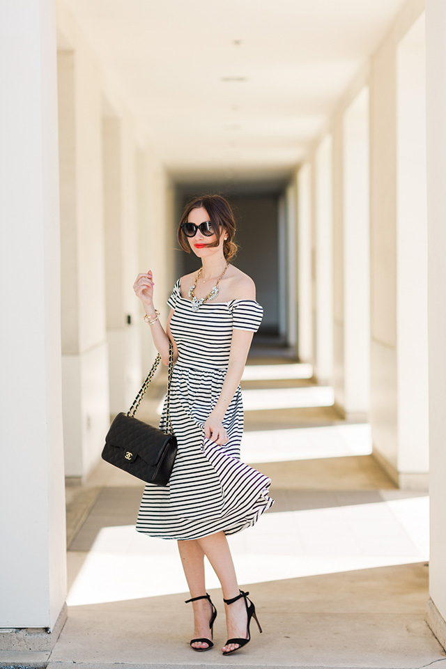 dressing up a striped off-the-shoulder-dress