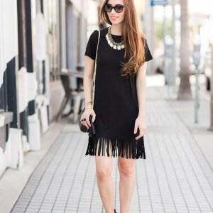 styling a little black fringe dress M Loves M