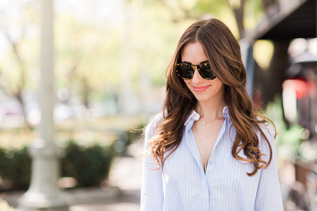 tortoise sunglasses with blue button up