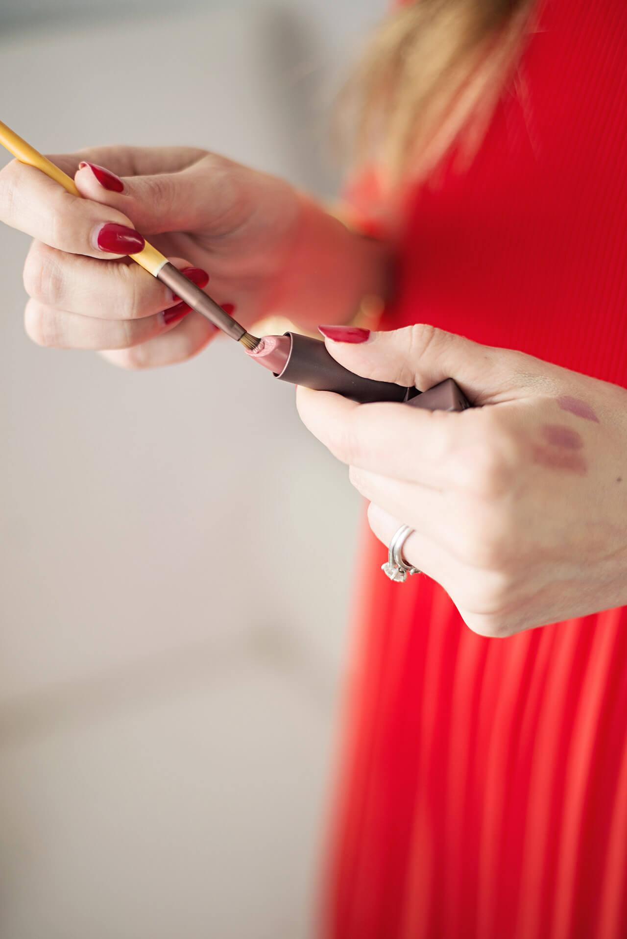 applying lipstick with lip liner brush M Loves M