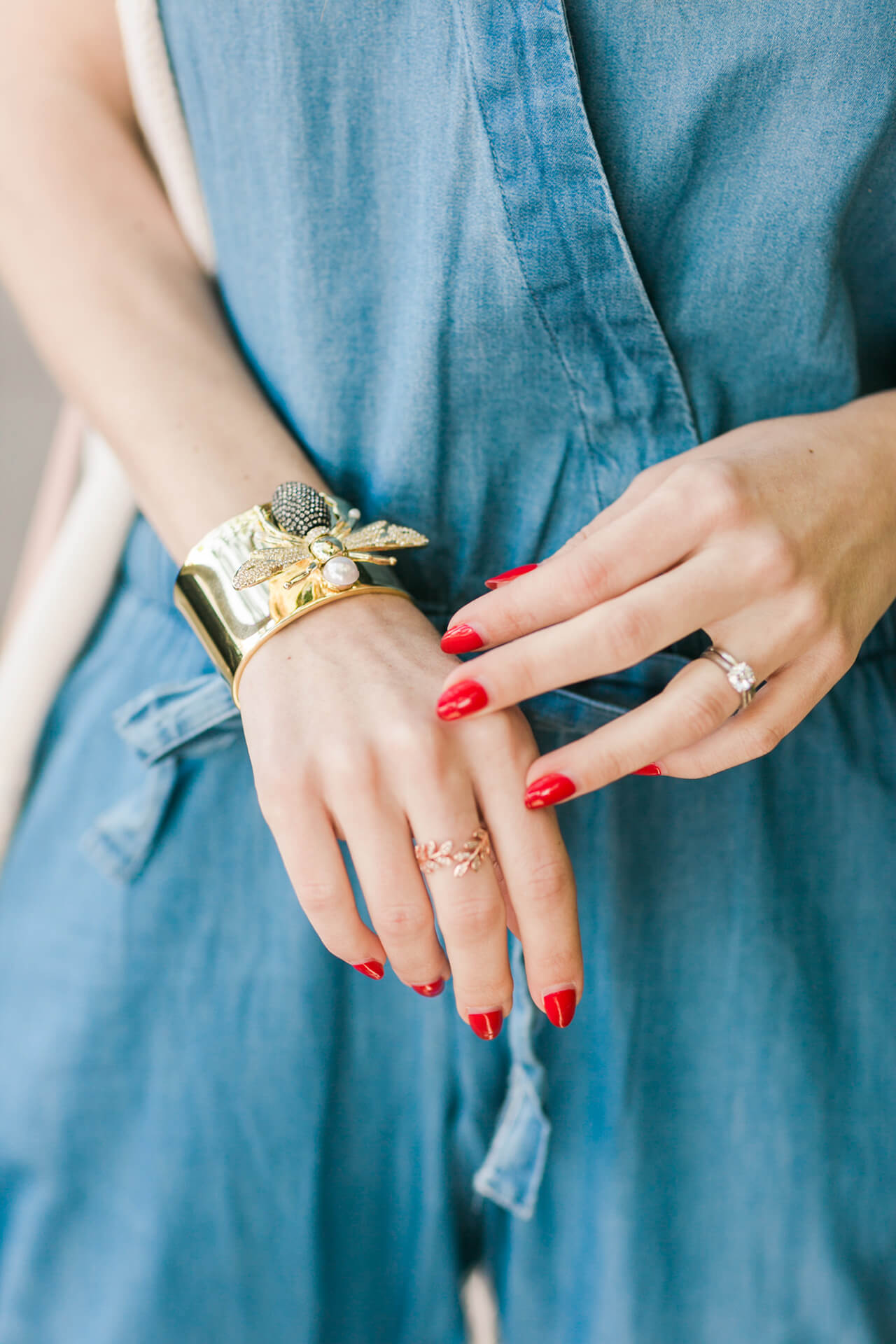 bee cuff bracelet with a denim jumpsuit M Loves M