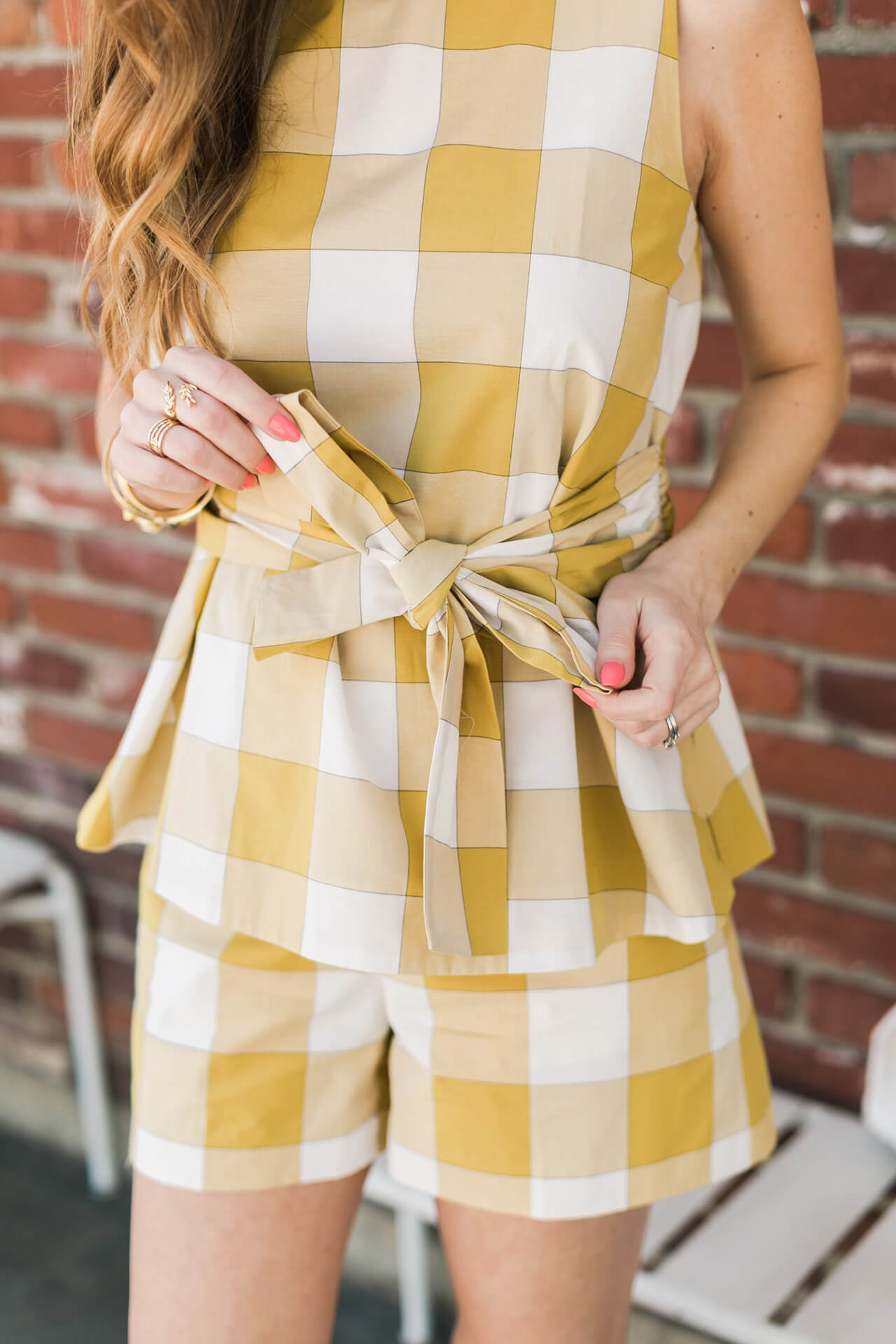 mustard gingham top with bow + details on the best spring sale
