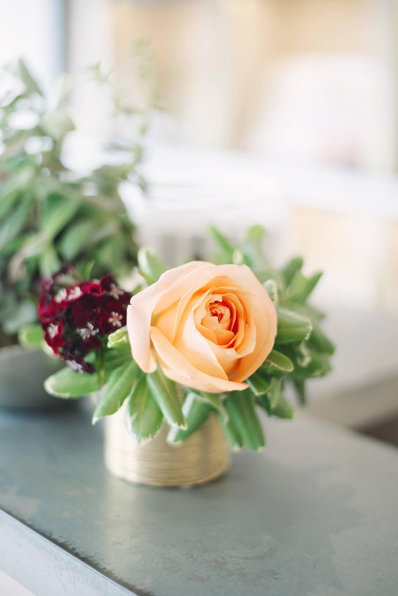a pretty peach rose in a gold vase