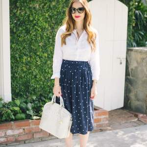 white linen button up shirt with midi skirt