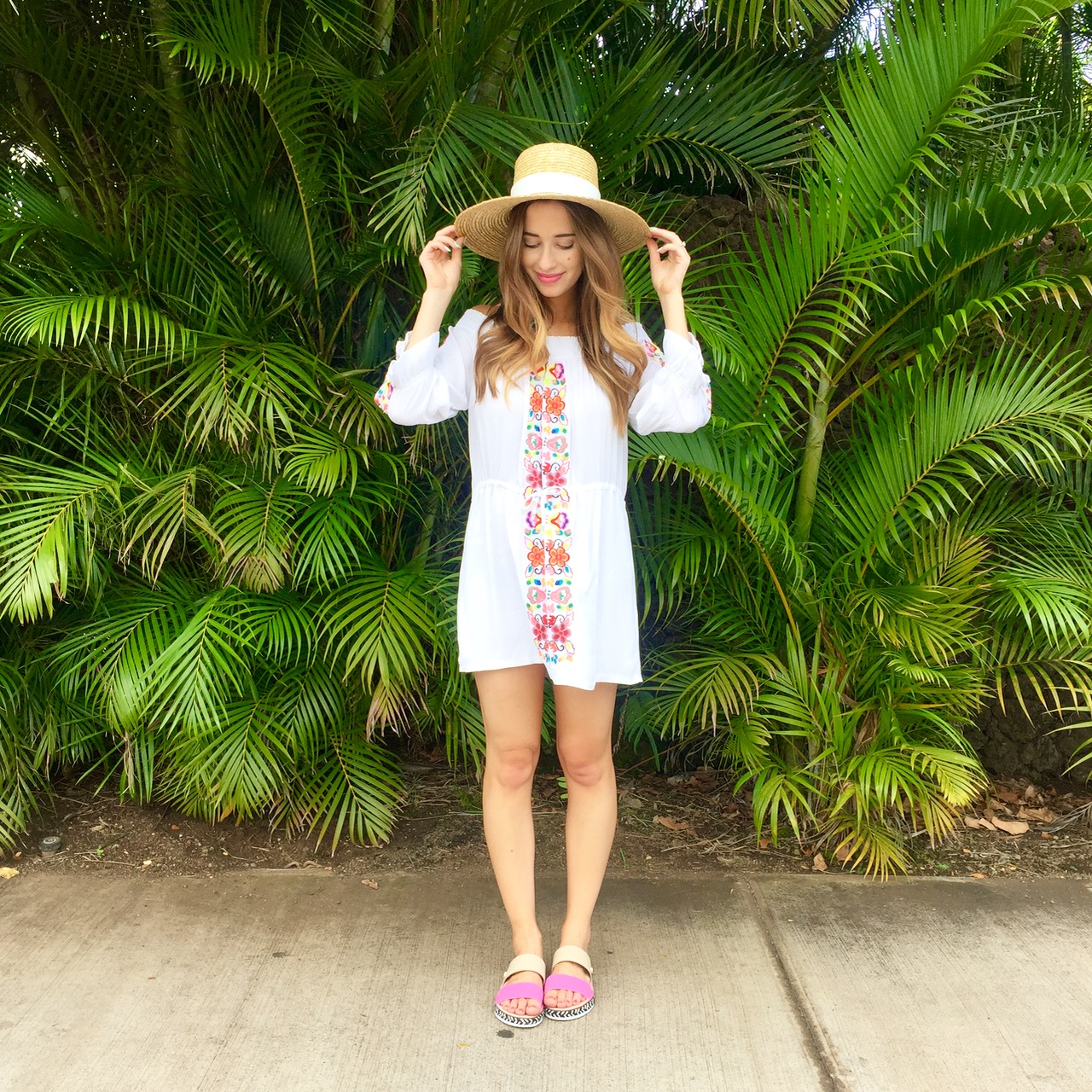 cute summer outfit inspiration: embroidered off the shoulder dress with a sun hat