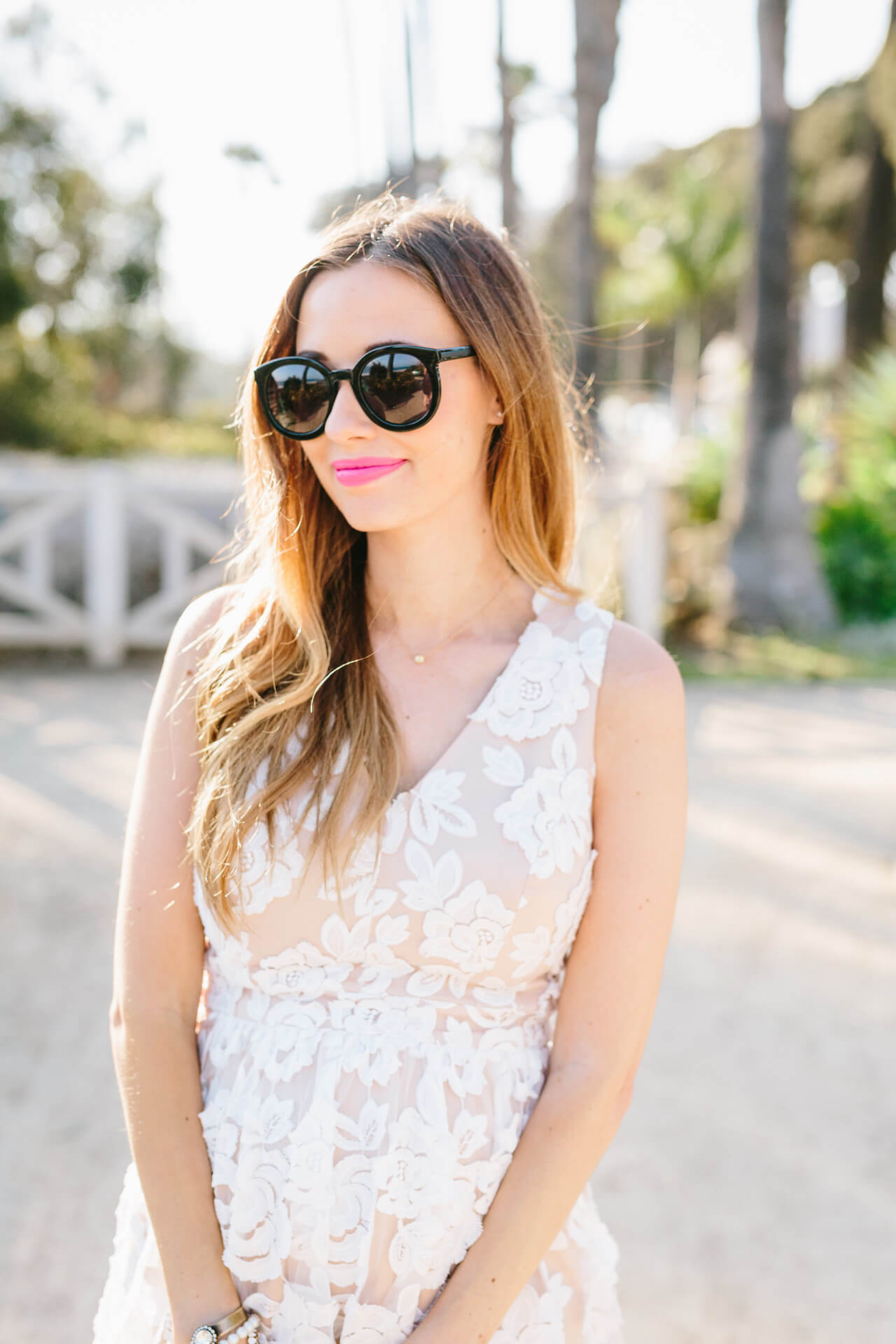 nude and white floral lace dress