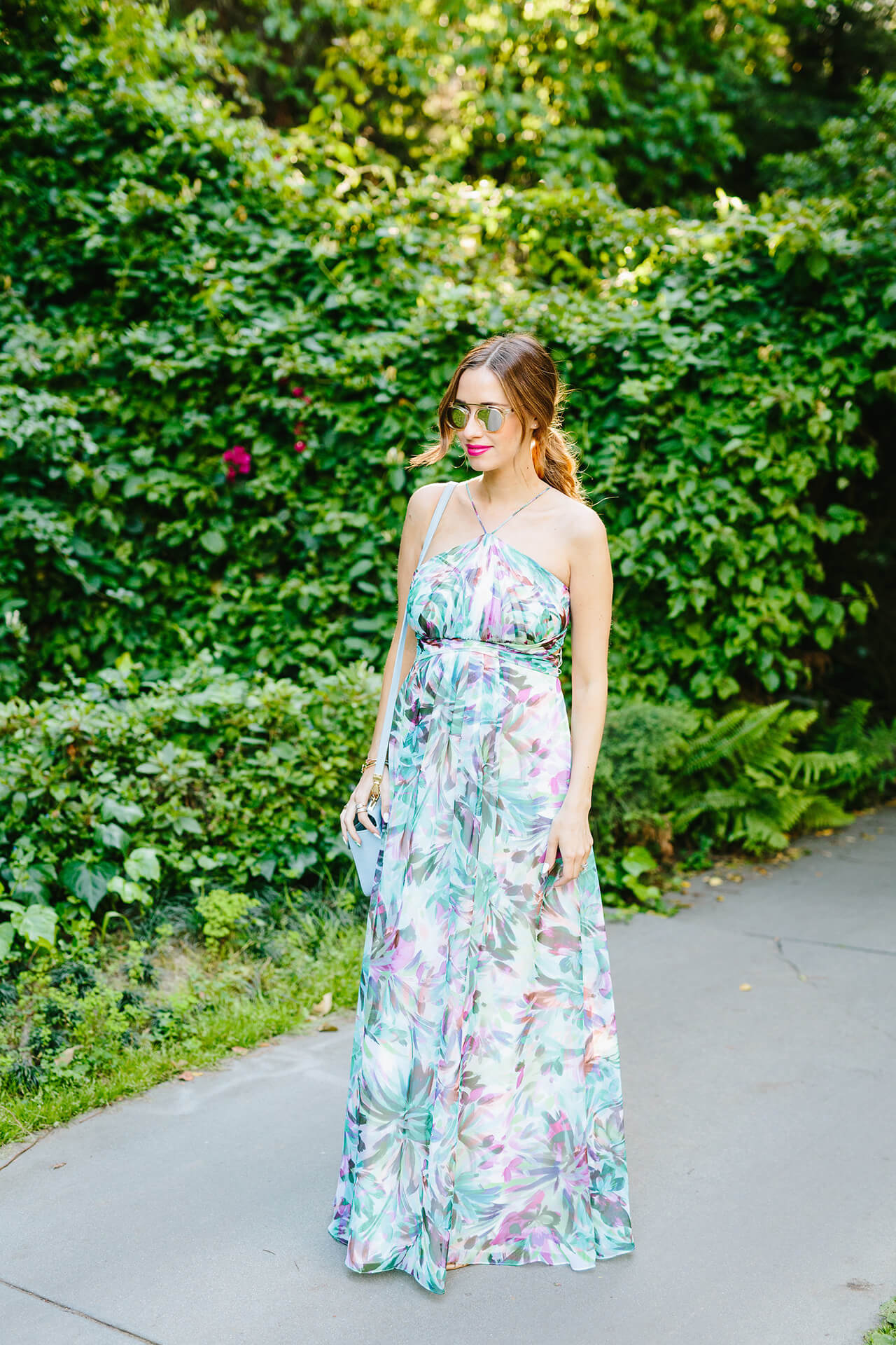 a floral maxi dress that's perfect for spring events and parties