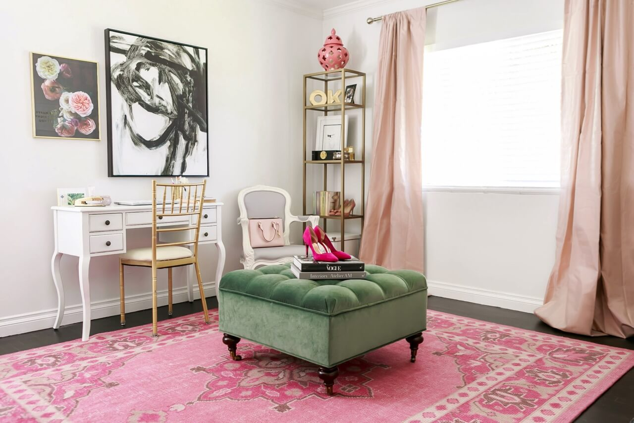 mara ferreira's feminine pink and green home office