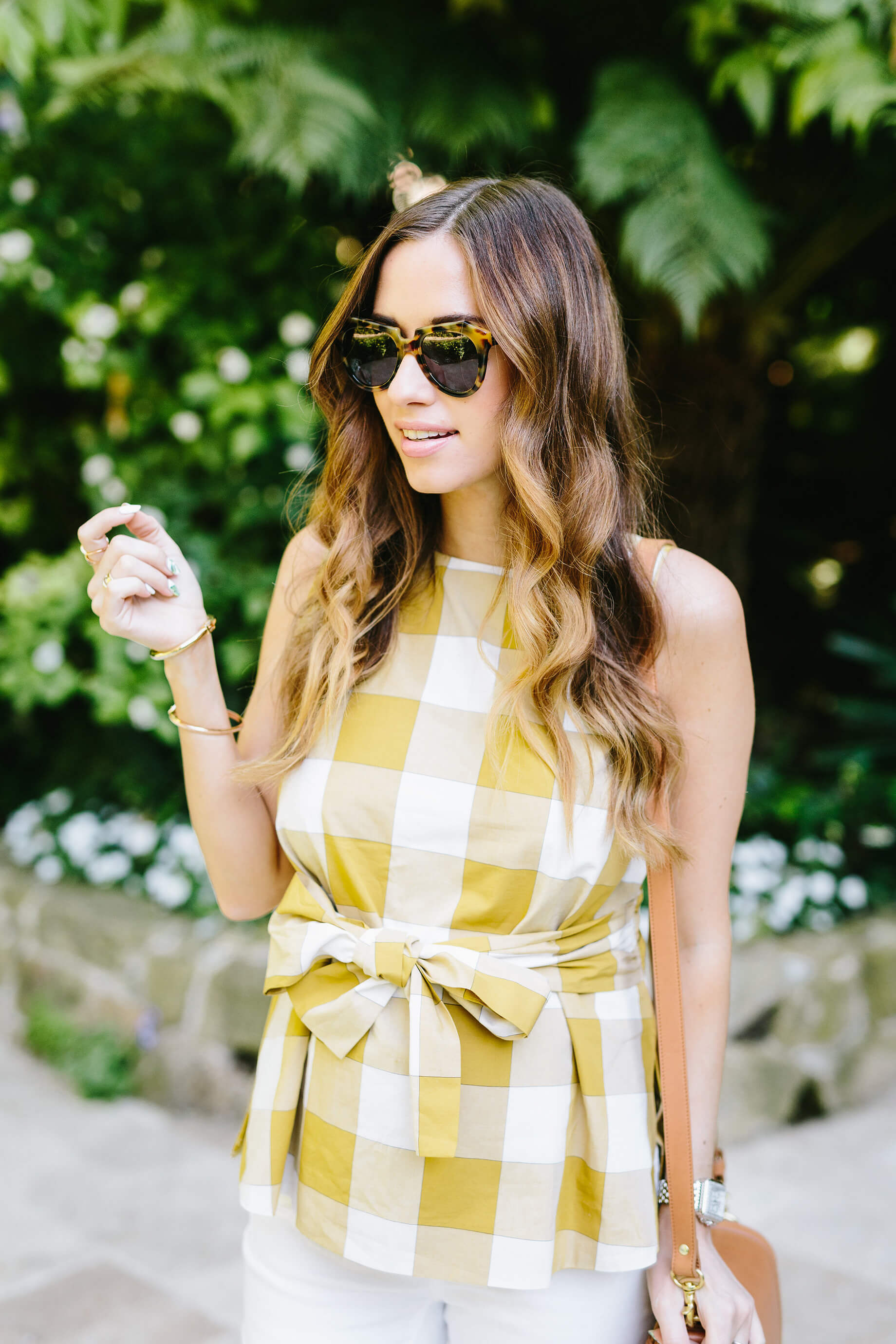 sleeveless gingham yellow and white blouse