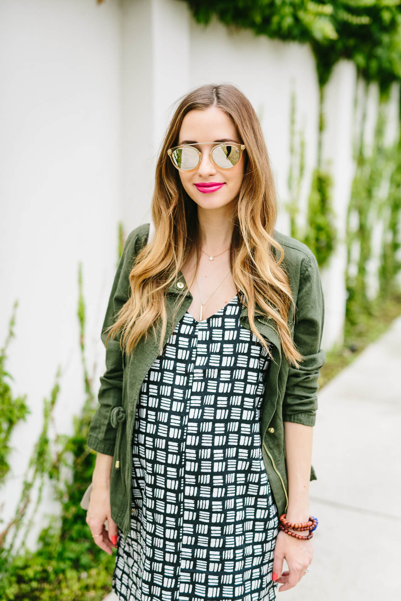 styling a black and white printed dress