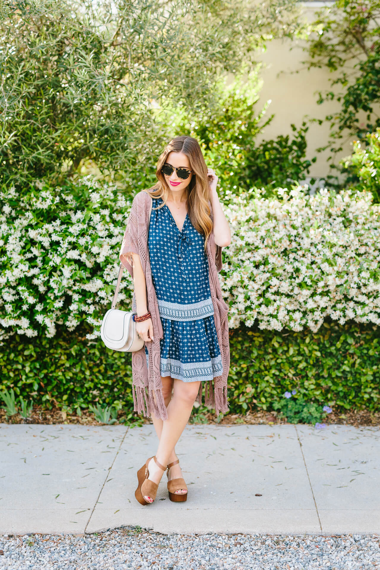 blue paisley dress with brown crochet cardigan