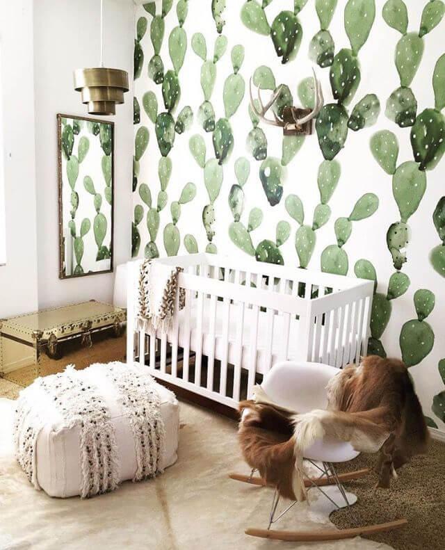 cactus wallpaper in boho nursery