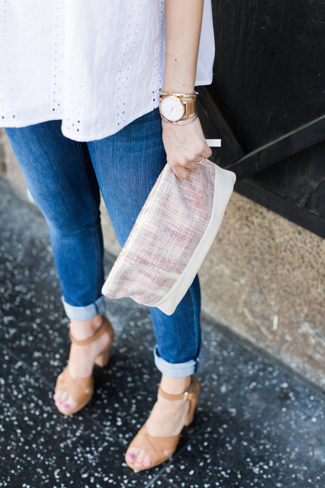 jeans with woven clutch