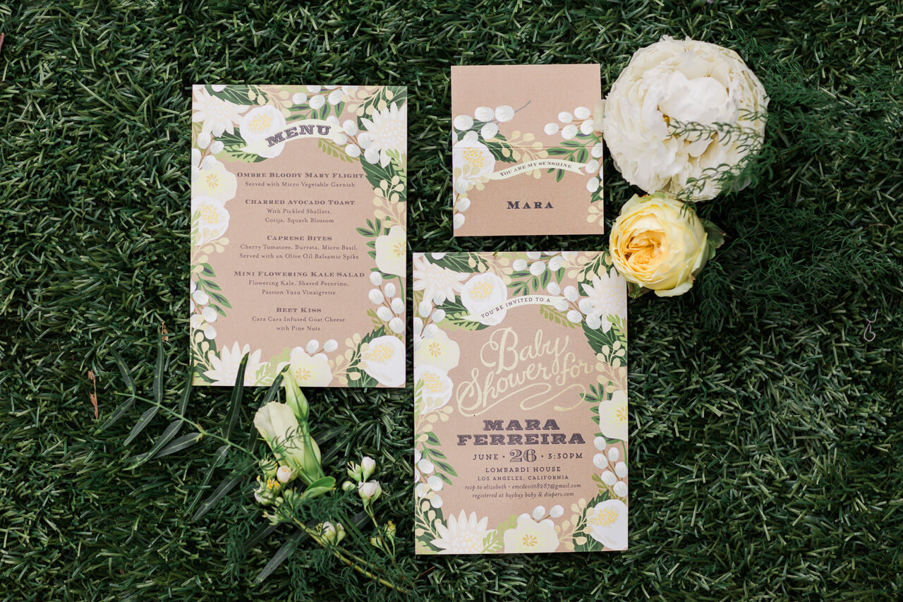 pretty paper products from Minted for a gender-neutral baby shower