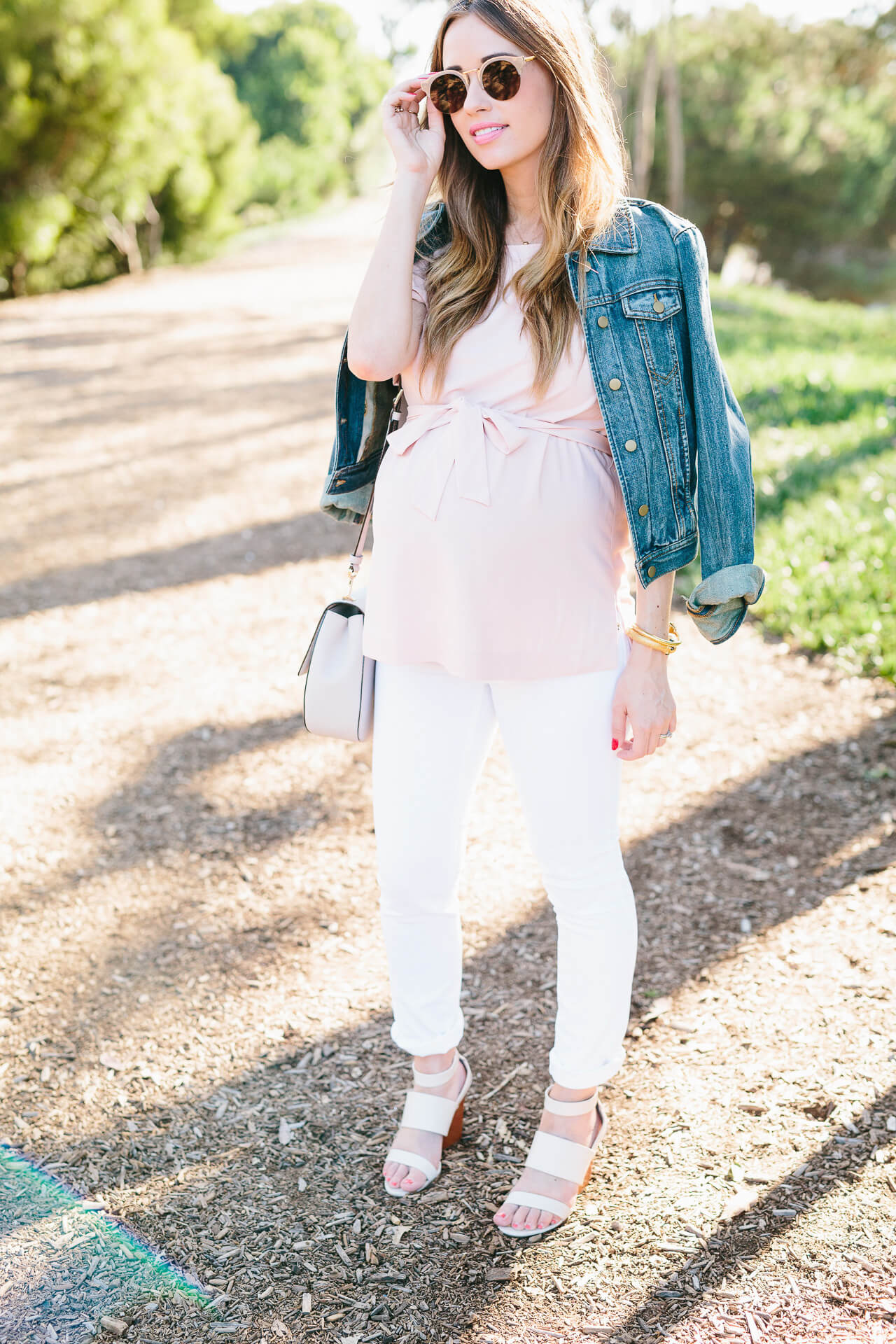soften the impact of a denim jacket with pink and white